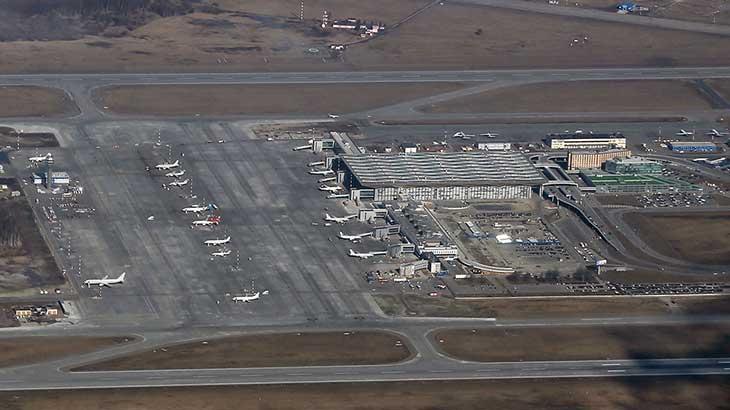 Новый терминал Пулково, вид с самолёта